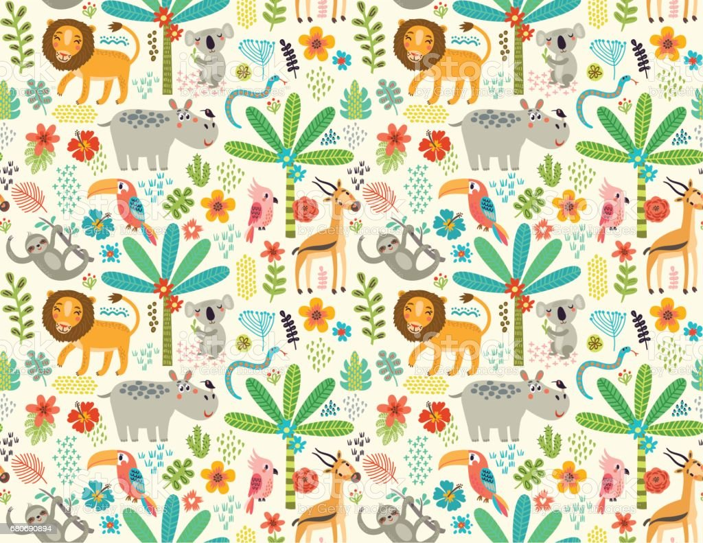 Seamless pattern with jungle animals vector art illustration