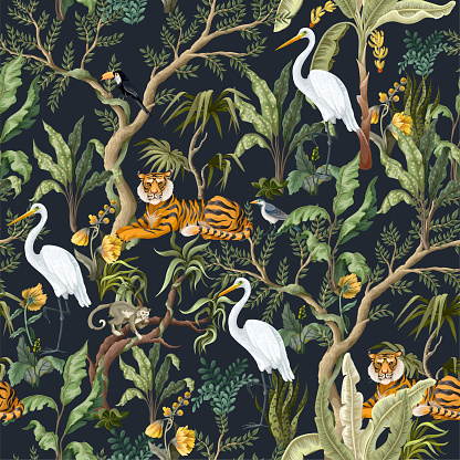 Seamless pattern with jungles trees and animals. Trendy tropical print