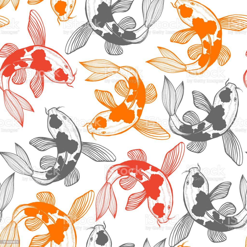 Seamless Pattern with Karp Koi in Hand Drawn Style vector art illustration
