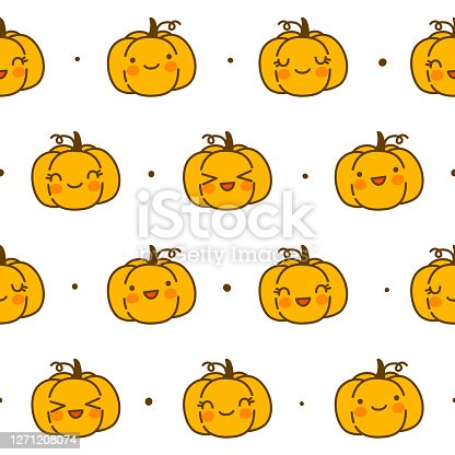 Seamless pattern with kawaii pumpkins isolated on white - cartoon background for funny Halloween autumn textile or wrapping paper design