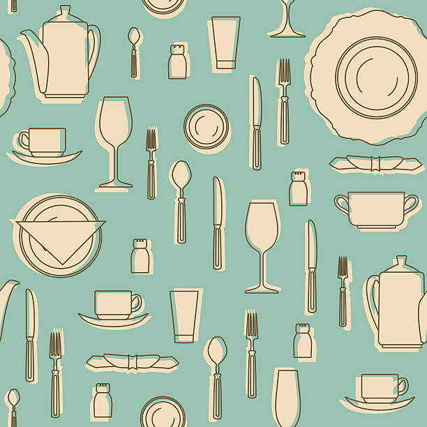 Seamless pattern with kitchen equipments. Vector illustration. Seamless pattern with kitchen equipments. Set of hand drawn cookware. Kitchen equipments. Silhouettes of kitchen utensils. Vintage style.  Seamless pattern be used for textile, book, cover, packaging, website, background, labels. Vector illustration. cooking designs stock illustrations