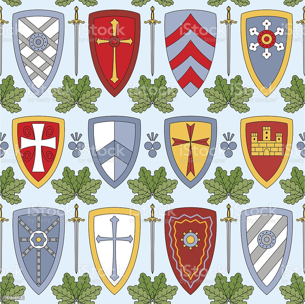 seamless pattern with knightly shields royalty-free seamless pattern with knightly shields stock vector art & more images of art