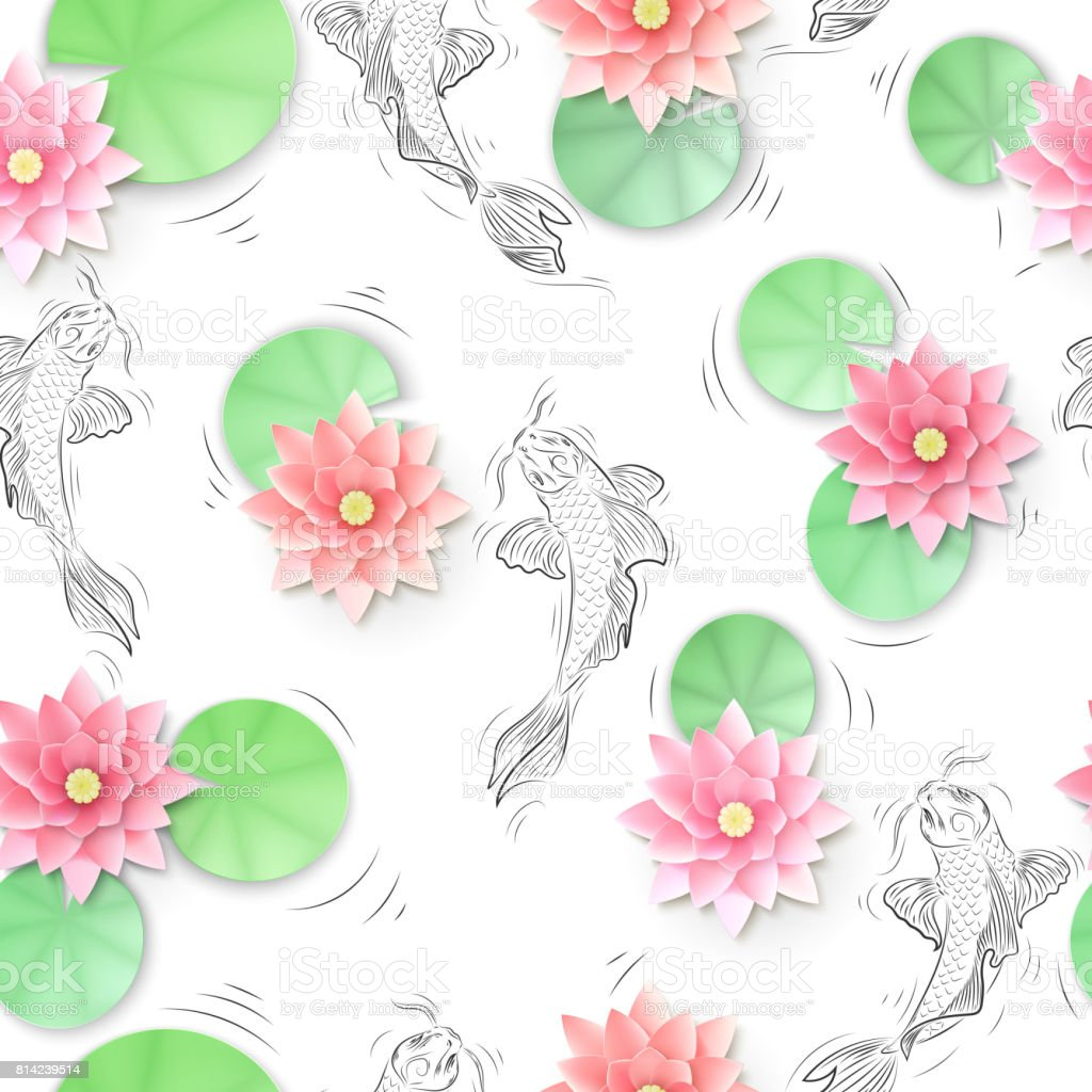 Seamless Pattern With Koi Carp And Lotus Paper Flowers Stock Vector