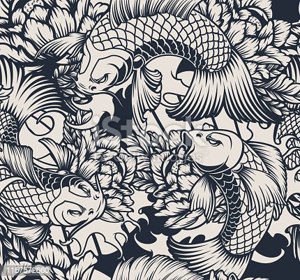 Monochrome seamless pattern with koi carp.