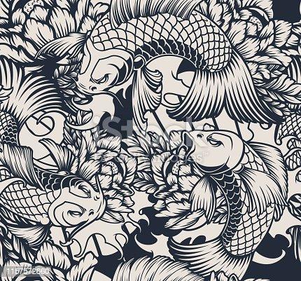 Monochrome seamless pattern with koi carp.