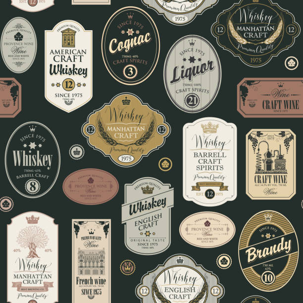 seamless pattern with labels for alcoholic drinks Vector seamless pattern with collage of labels for various alcoholic beverages in retro style with inscriptions of whiskey, liquor, cognac, wine, brandy. label stock illustrations