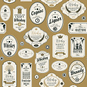 Vector seamless pattern with collage of labels for various alcoholic beverages in retro style with inscriptions of whiskey, liquor, cognac, wine, brandy, craft wine.