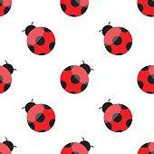 Seamless pattern with ladybugs