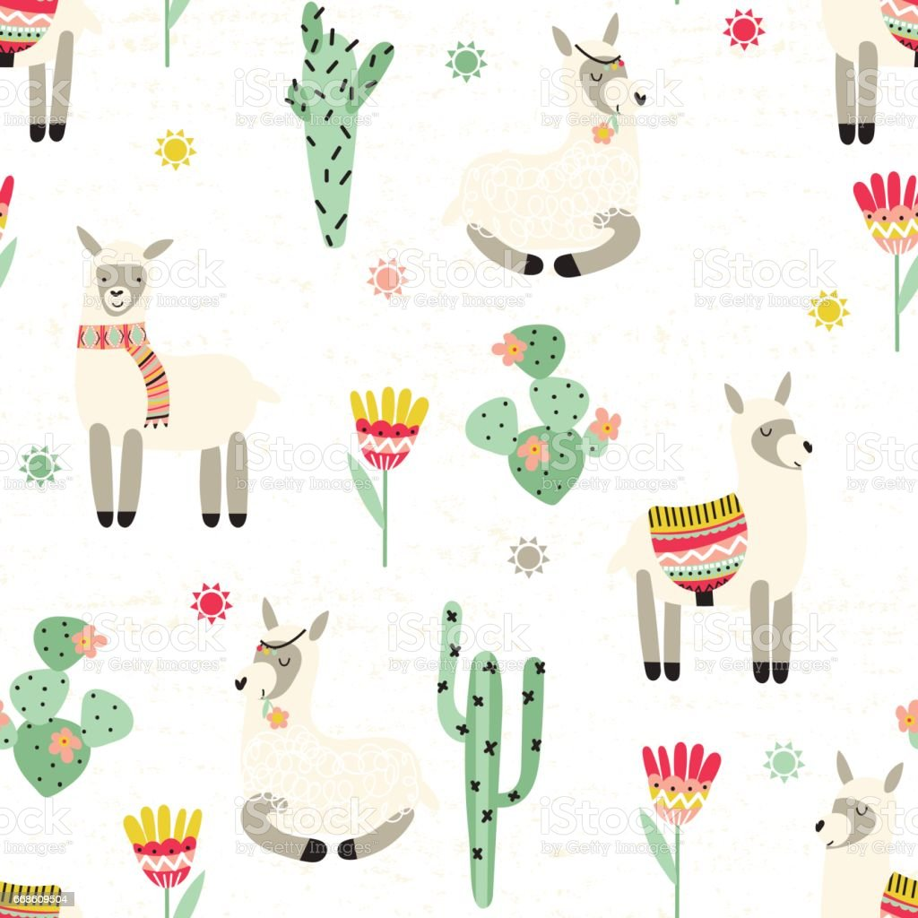 Seamless pattern with lama and cactus vector art illustration