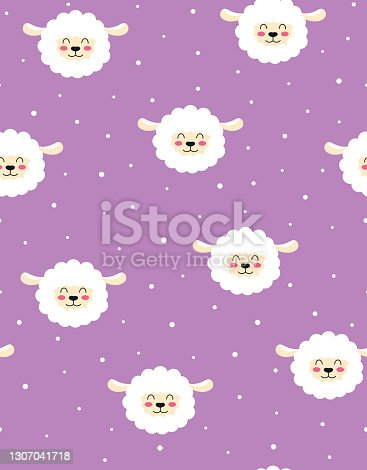 istock seamless pattern with lamb isolated, vector illustration 1307041718