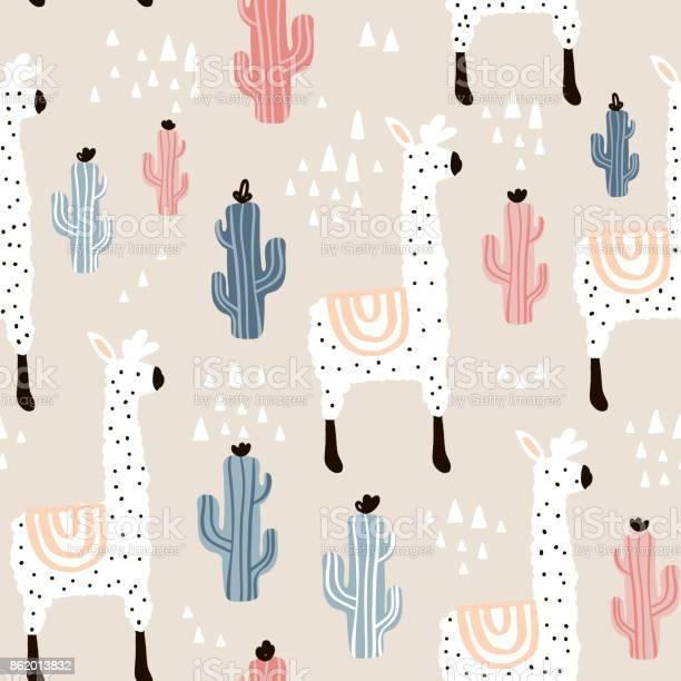 Seamless pattern with lamma cactus and hand drawn elements childish vector id862013832?b=1&k=6&m=862013832&s=612x612&h=zsl2rhjrrzuycpm8uigrg5r vhynd g7oocuzx5ixj4=