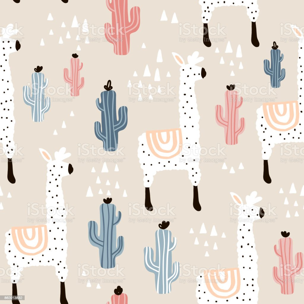 Seamless pattern with lamma, cactus and hand drawn elements. Childish texture. Great for fabric, textile Vector Illustration vector art illustration