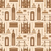 Seamless pattern with landmarks of United Kingdom, vector colorful cartoon flat objects
