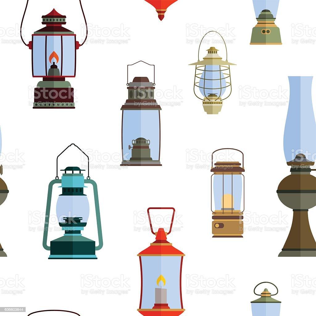 seamless pattern with lanterns vector art illustration