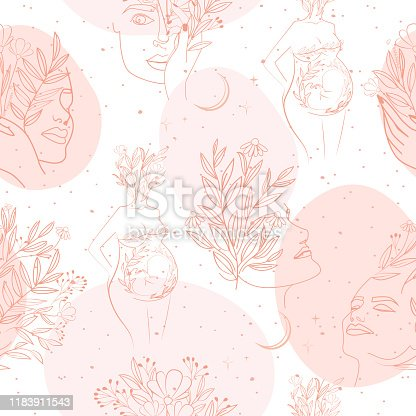 istock Seamless pattern with leaf and flower elements, girl portrait and silhouette of a pregnant woman in one line style. 1183911543