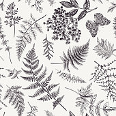 istock Seamless pattern with leaves and butterfly. 1131743191