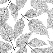 Seamless pattern with leaves birch. Vector illustration