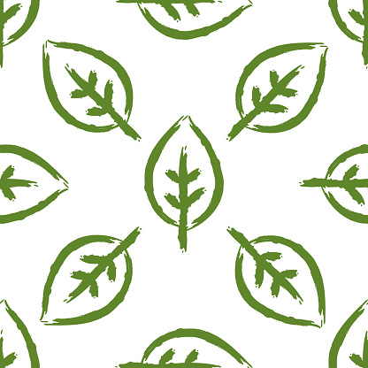 Seamless pattern with leaves painted by brush. Bio, Eco, Organic template. Sketch, graffiti, watercolour.