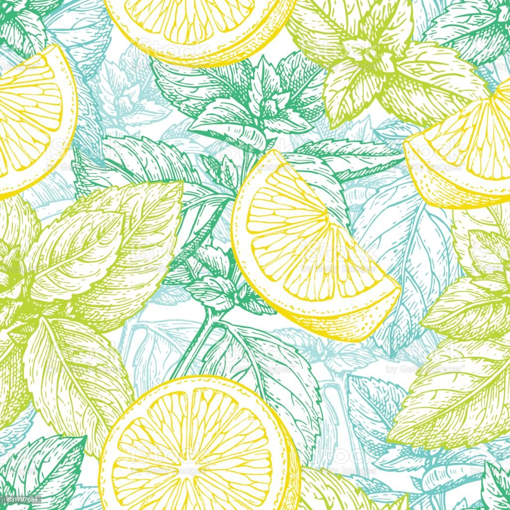 Seamless pattern with lemon and mint. royalty-free seamless pattern with lemon and mint stock vector art & more images of aromatherapy