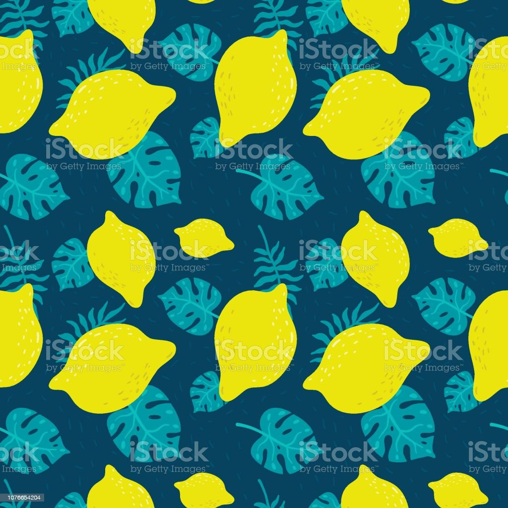 Seamless Pattern With Lemon And Tropical Leaves Vector Bright