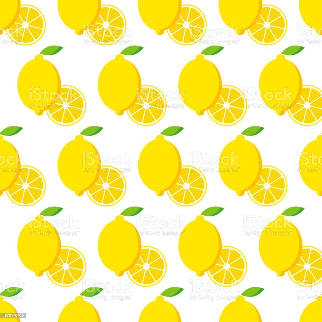 Seamless Pattern With Lemon Lemons On White Background Cute Cartoon Summer Garden Lemon Jam Vector Illustration Textile Rapport Stock Illustration
