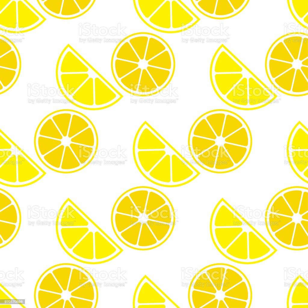 Seamless Pattern With Lemon Lemons On White Background Cute Cartoon