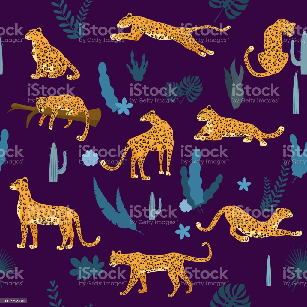 Seamless pattern with leopards in different poses with tropical...