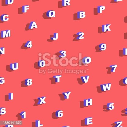istock Seamless Pattern with letters and numbers. Vector illustration. Poster, print, card, paper and textile design. Alphabet, font, abc, shadows, isometric, 3D style, voluminous, perspective. 1330141370