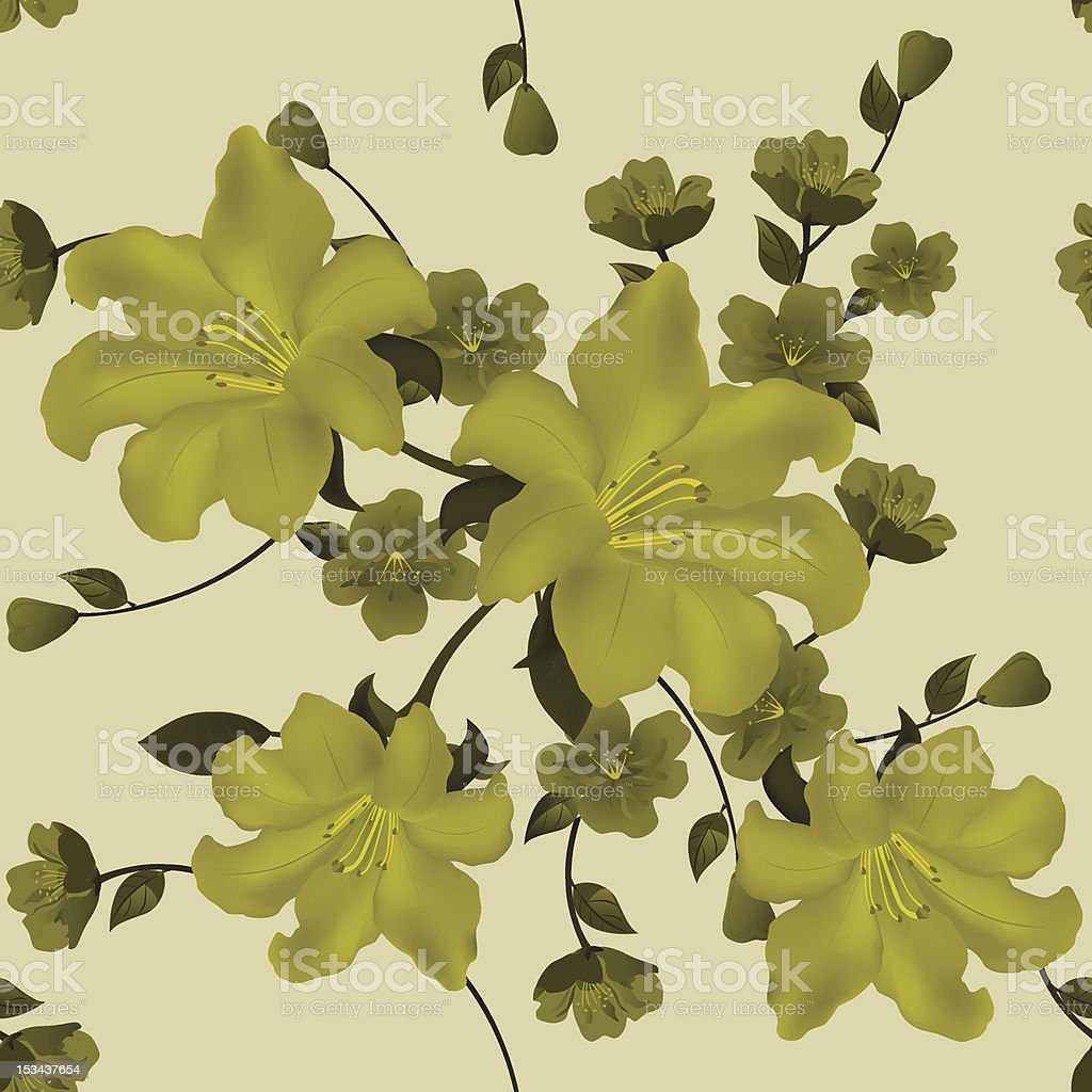 Seamless pattern with lilies and small flowers on light background royalty-free stock vector art