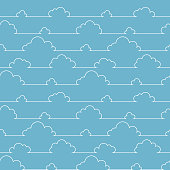 Seamless pattern with simple cartoon clouds in continuous line art drawing style. White linear design on soft blue background. Vector illustration