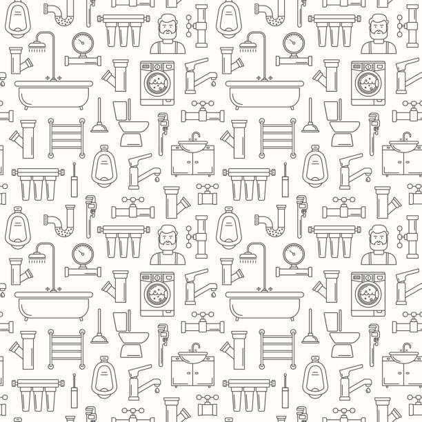 Nahtloses Muster mit Linienstil Sanitär-Symbole. Dünner Linienhintergrund für sanitären Service. Badezimmermuster mit umrissenen schwarzen Ikonen von Badewanne, Schraubenschlüssel, Dusche, Rohr, Leckage, Fall, Meter und Kolben – Vektorgrafik
