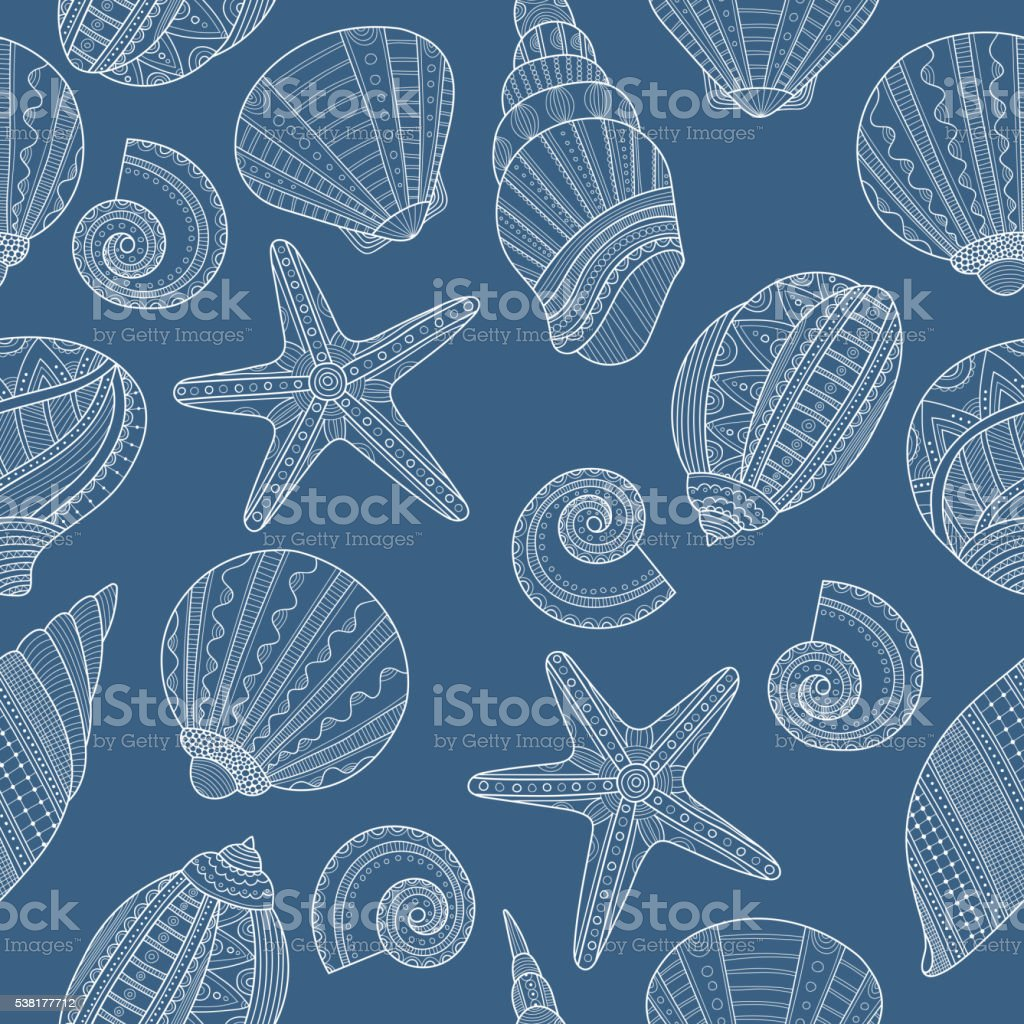 Seamless pattern with linear sea shells on blue background. Vector vector art illustration