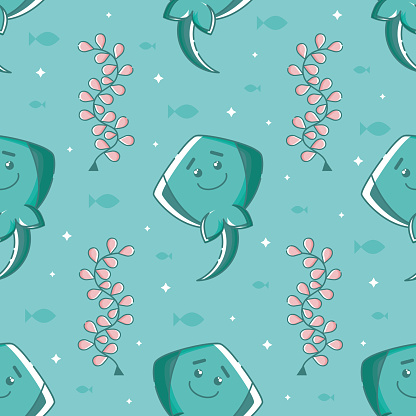 Seamless pattern with linear stingrays.