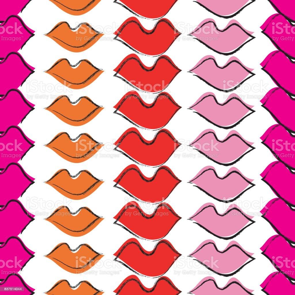 唇でシームレスなパターンポップなアート スタイル布のデザイン壁紙