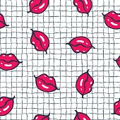 Seamless pattern with lips. Vector illustration.