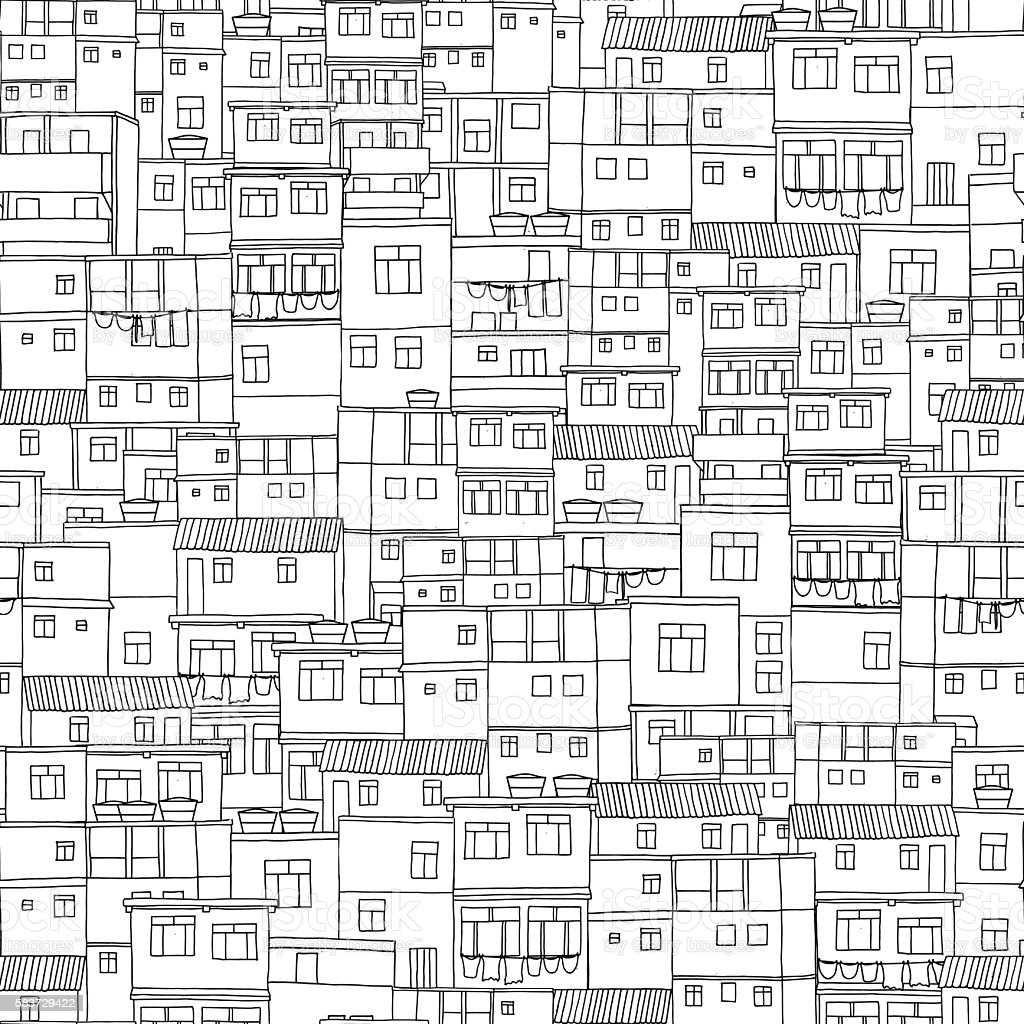Seamless pattern with little box houses vector art illustration