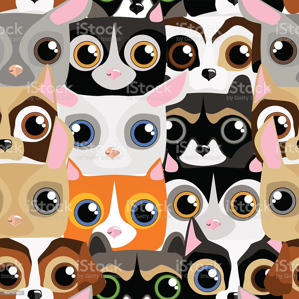 Seamless pattern with little cute and funny pets vector art illustration