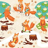 Seamless pattern with little cute foxes. Cartoon background. Vector illustration