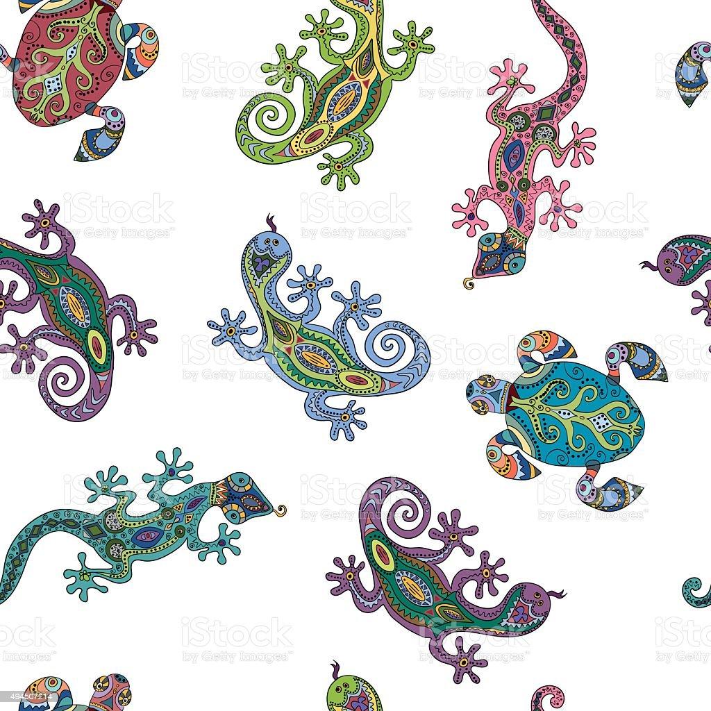 Patrón Sin Costuras Con Lizards Y Tortugas - Arte vectorial de stock ...