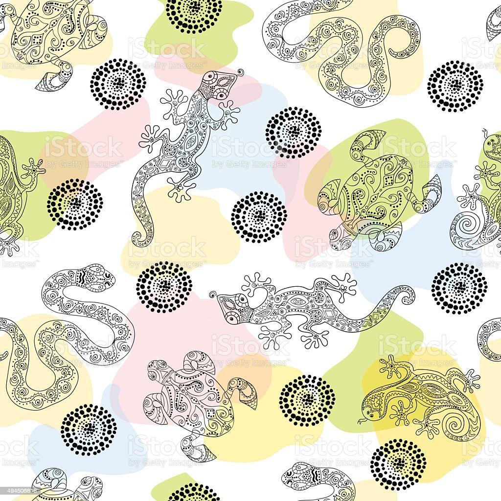 Patrón Sin Costuras Con Lizards Illustracion Libre de Derechos ...