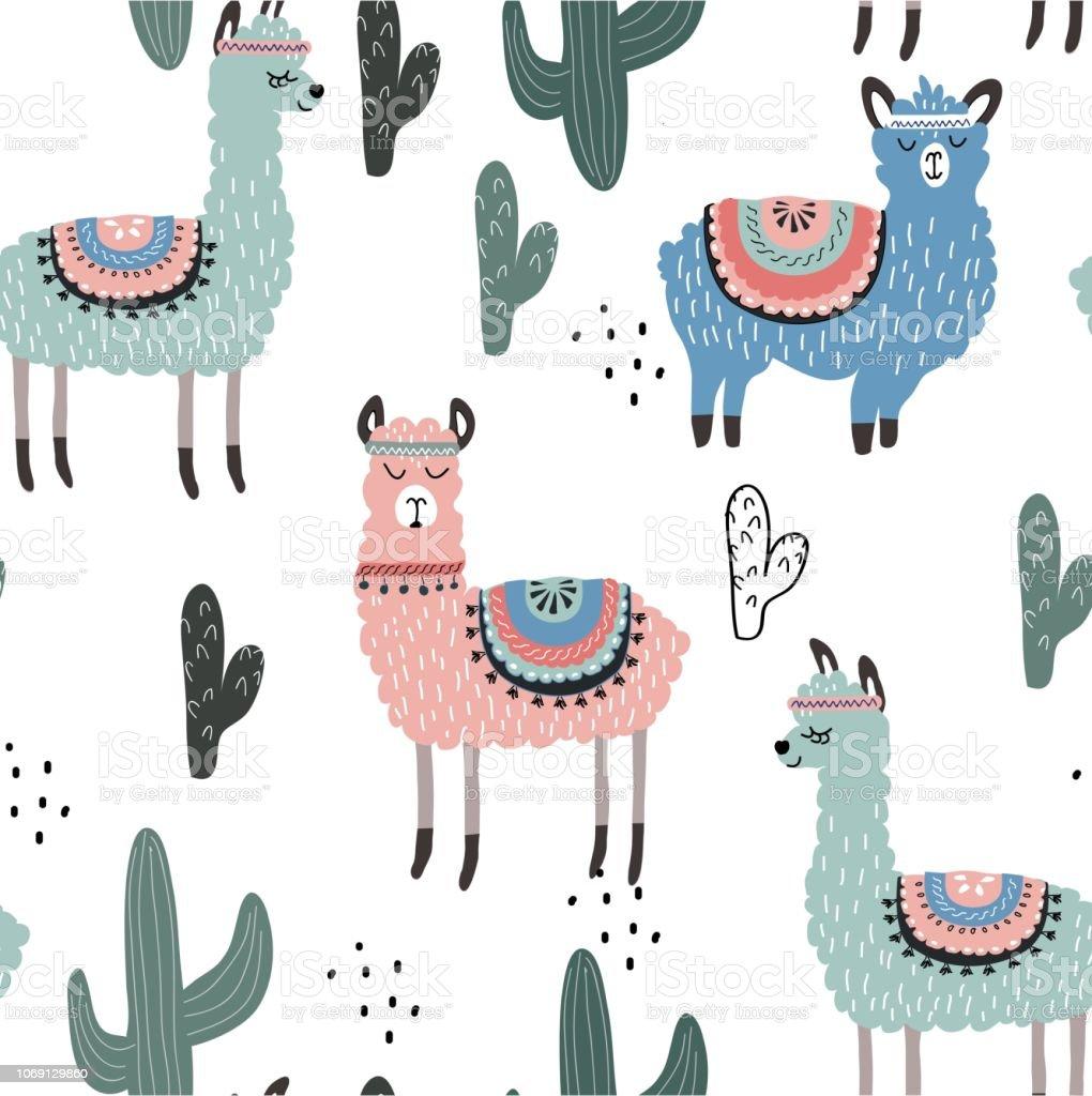 Modèle Sans Couture Avec Les Lamas Et Les Cactus Illustration