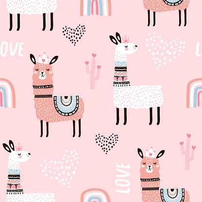 Seamless pattern with llama princess hearts, cactus and hand drawn elements. Creative childish texture. Great for fabric, textile Vector Illustration