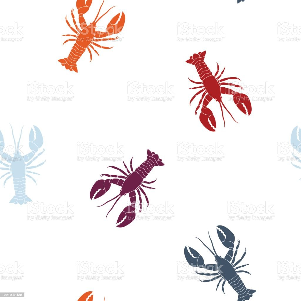 Seamless pattern with  lobster vector art illustration