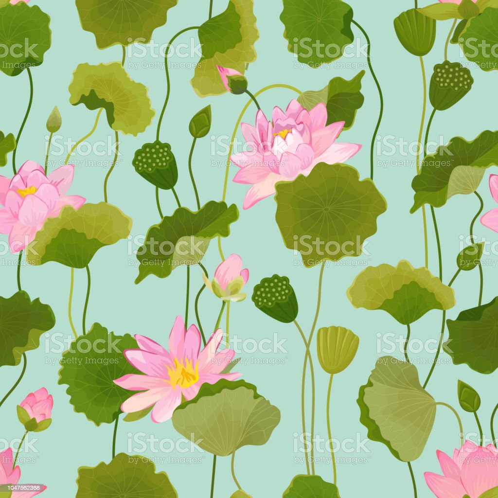 Seamless Pattern With Lotus Flowers And Leaves Retro Floral Background Fashion Print Birthday