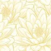 Beautiful seamless pattern with lotus flowers. Hand-drawn contour lines and strokes. Perfect for background greeting cards and invitations of the wedding, birthday
