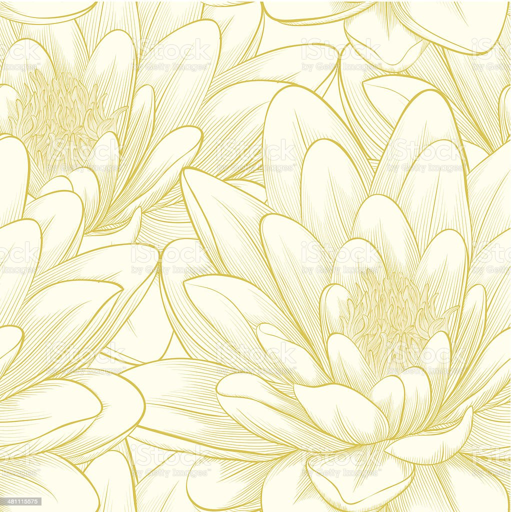 seamless pattern with lotus flowers. vector art illustration