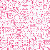Seamless pattern with love symbols in line style. Valentines day. Love heart couple relationship dating wedding romantic amour theme. Vector illustration. Background.