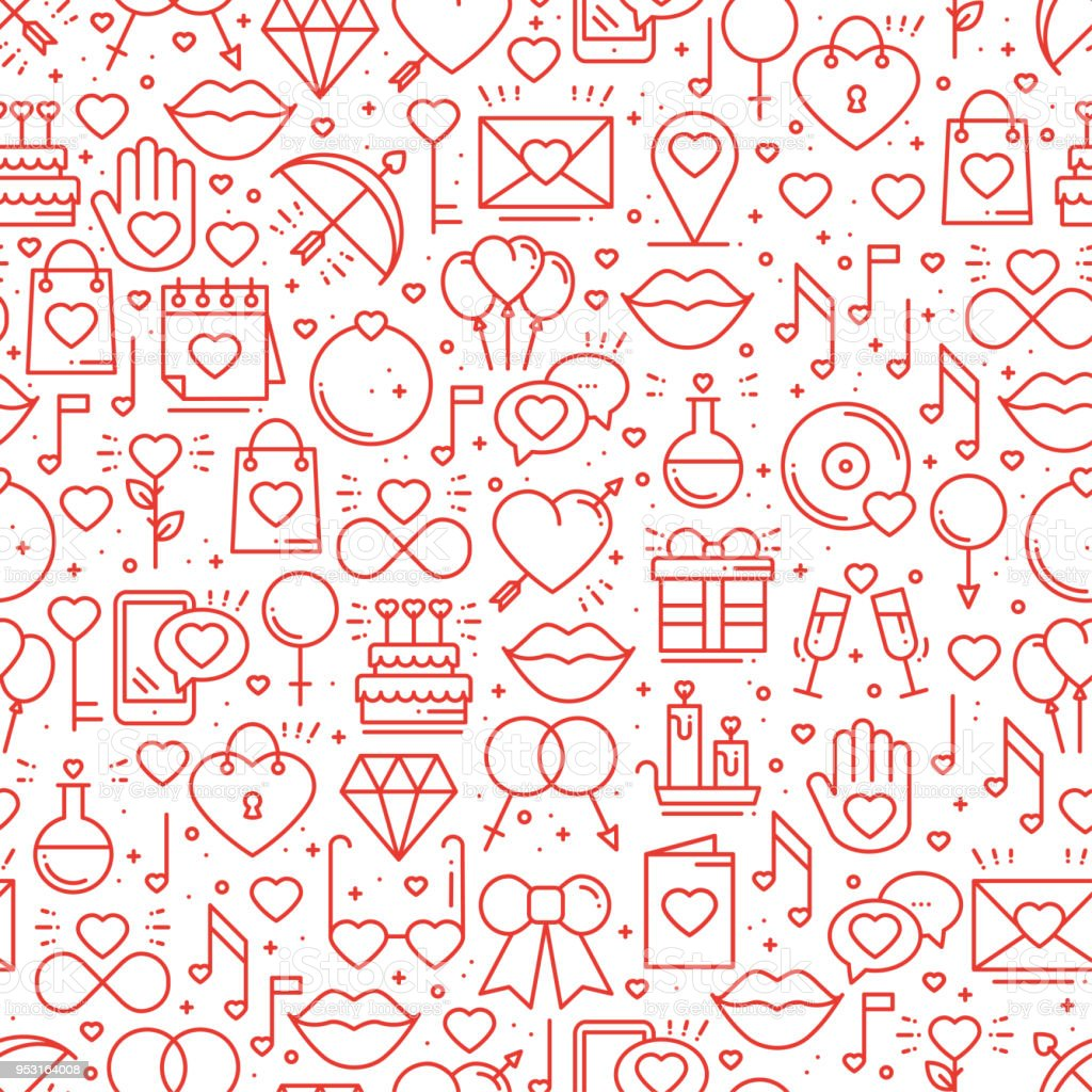 Seamless Pattern With Love Symbols In Line Style Valentines Day Love