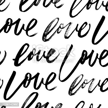 Seamless pattern with love words. Valentines vector pattern with handwritten black lettering. Dry brush rough edges. Typographic style ornament for Valentine's Day greeting card, wrapping paper