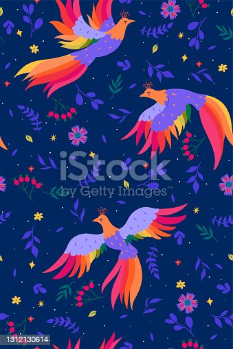 istock Seamless pattern with magic birds on a blue background. Vector graphics. 1312130614